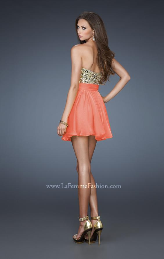 Picture of: Sweetheart Neckline Cocktail Dress with Beaded Bodice in Orange, Style: 18445, Back Picture