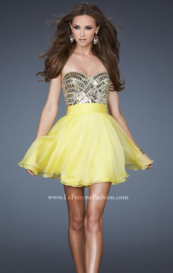 Picture of: Sweetheart Neckline Cocktail Dress with Beaded Bodice in Yellow, Style: 18445, Detail Picture 1