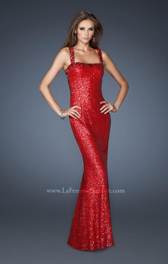 Picture of: Sequin Prom Dress with Rhinestone Accented Bodice in Red, Style: 18450, Main Picture