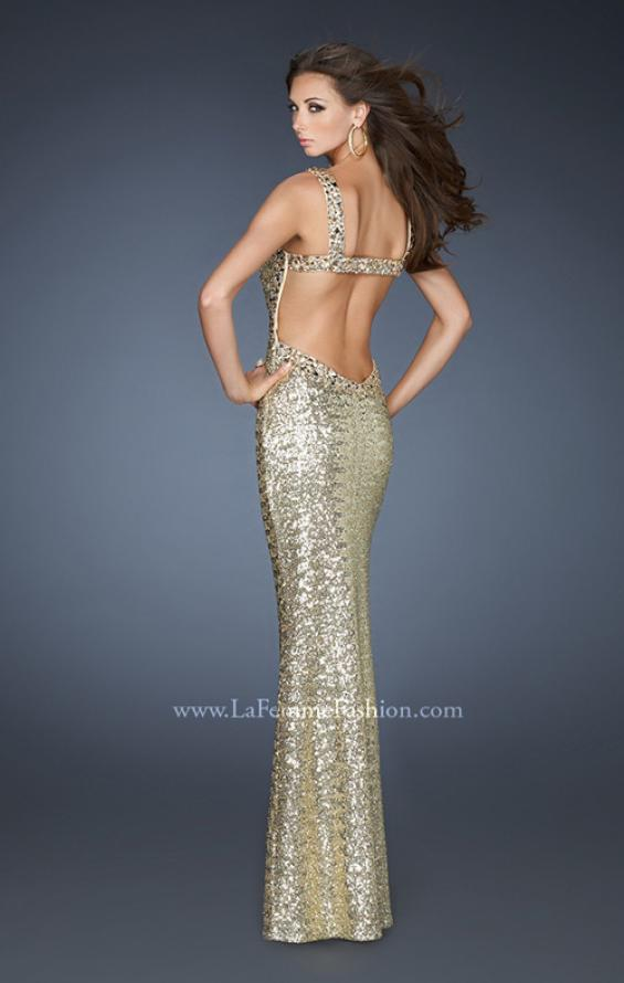Picture of: Sequin Prom Dress with Rhinestone Accented Bodice in Gold, Style: 18450, Back Picture