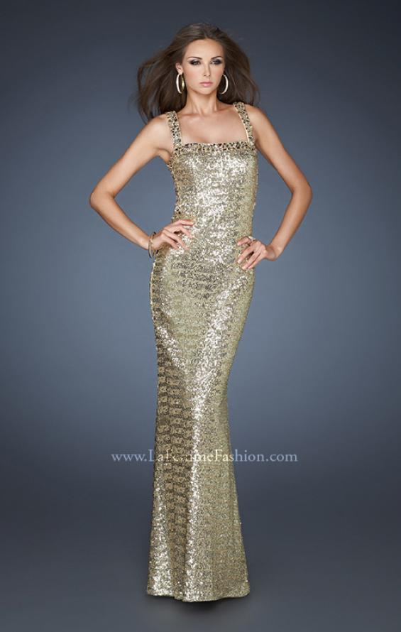Picture of: Sequin Prom Dress with Rhinestone Accented Bodice in Gold, Style: 18450, Detail Picture 1