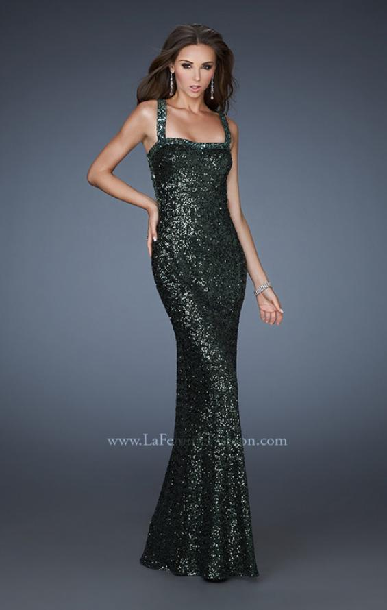 Picture of: Sequin Prom Dress with Rhinestone Accented Bodice in Green, Style: 18450, Detail Picture 3
