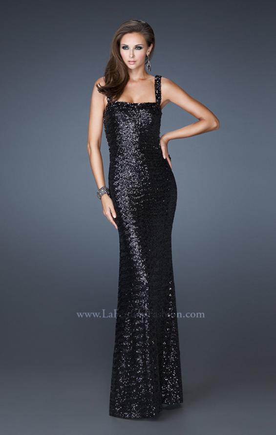 Picture of: Sequin Prom Dress with Rhinestone Accented Bodice in Black, Style: 18450, Detail Picture 4