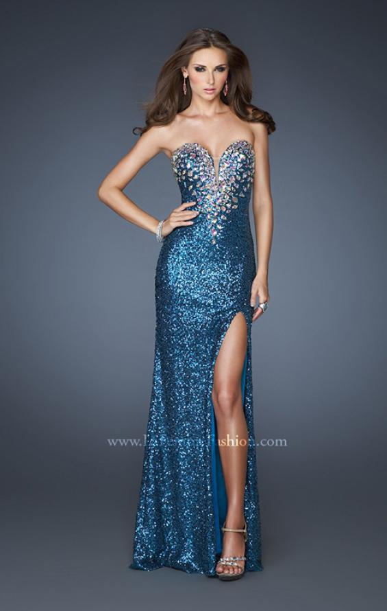 Picture of: Sexy Sequin Dress with Slit and Plunging Neckline, Style: 18456, Detail Picture 2