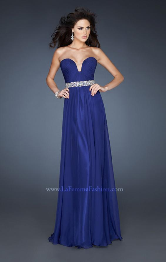 Picture of: Pleated Bodice Long A-line Prom Dress with Rhinestones, Style: 18457, Main Picture