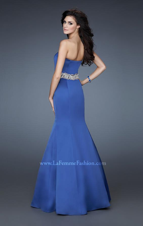 Picture of: Stretch Satin Mermaid Gown with Beaded Waist Detail in Blue, Style: 18460, Main Picture