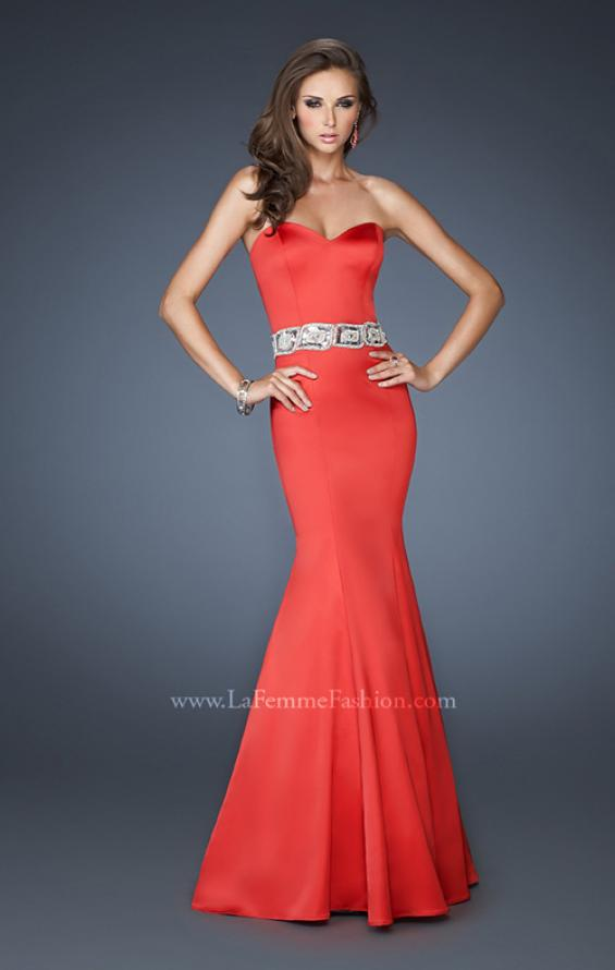 Picture of: Stretch Satin Mermaid Gown with Beaded Waist Detail in Red, Style: 18460, Back Picture