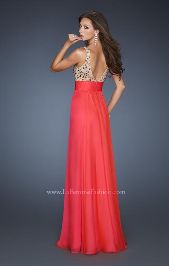 Picture of: Chiffon Prom Dress with Illusion Bodice and Flowy Skirt, Style: 18465, Back Picture