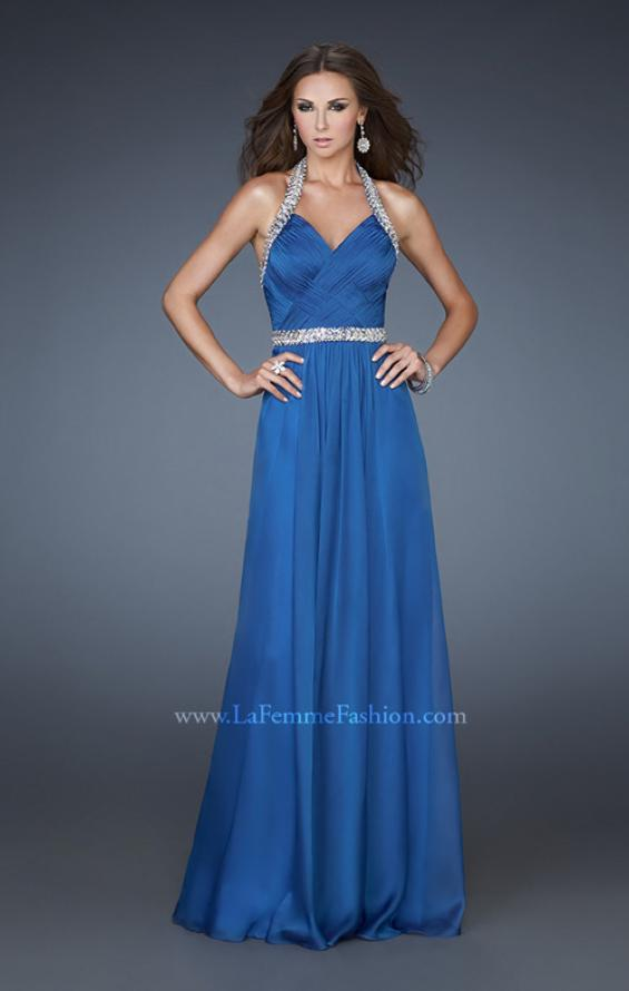 Picture of: Halter Top Prom Dress with Beaded Detail and Gathering in Blue, Style: 18476, Detail Picture 1