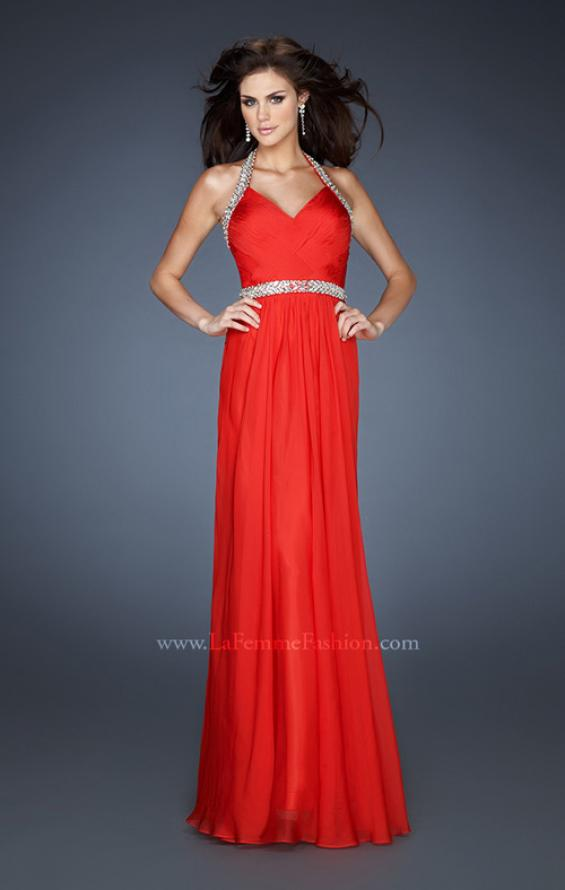 Picture of: Halter Top Prom Dress with Beaded Detail and Gathering in Red, Style: 18476, Detail Picture 2