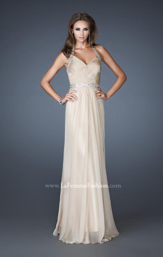Picture of: Halter Top Prom Dress with Beaded Detail and Gathering in Nude, Style: 18476, Detail Picture 3