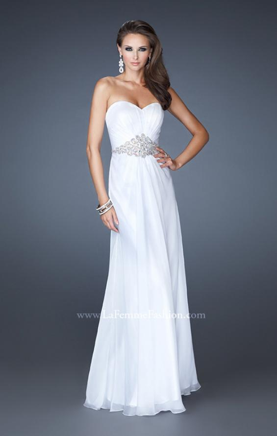 Picture of: Elegant Prom Gown with Beaded and Rhinestone Waist in White, Style: 18485, Main Picture
