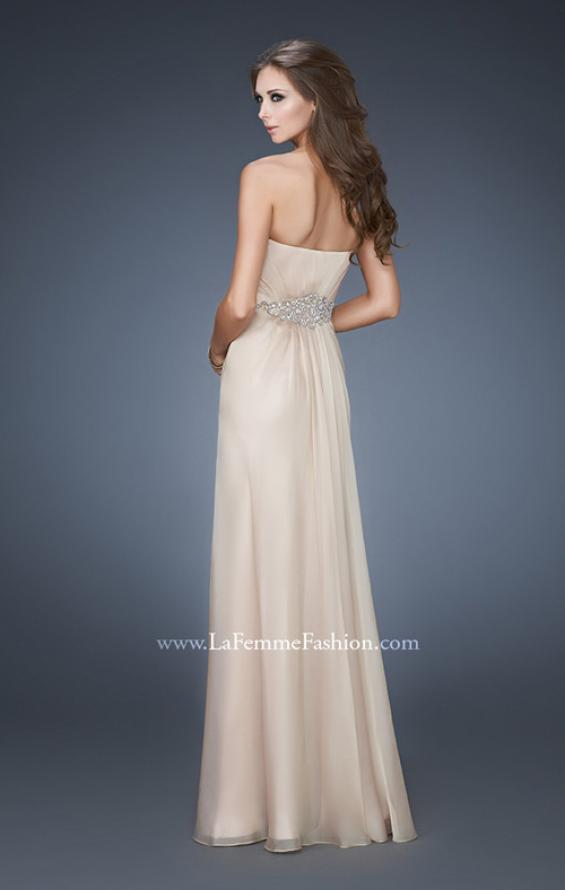 Picture of: Elegant Prom Gown with Beaded and Rhinestone Waist in Nude, Style: 18485, Back Picture