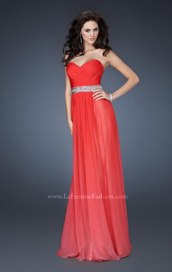 Picture of: Ombre A-line Chiffon Dress with Rhinestones Waistband in Pink, Style: 18486, Main Picture