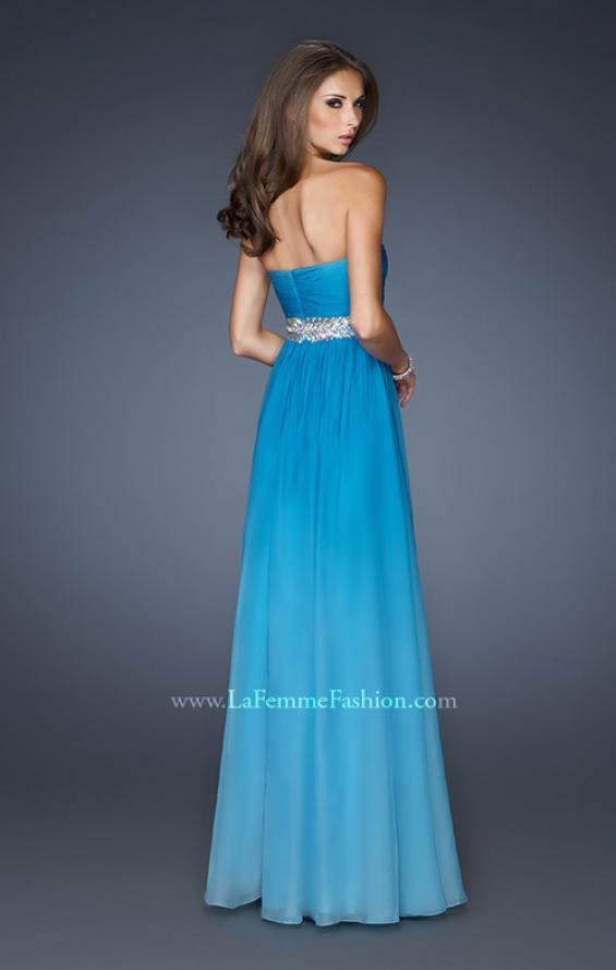Picture of: Ombre A-line Chiffon Dress with Rhinestones Waistband in Blue, Style: 18486, Back Picture