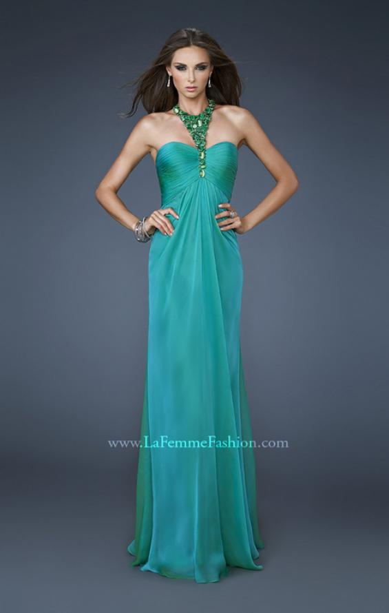 Picture of: Chiffon Halter Gown with Rhinestones and Open Back, Style: 18490, Main Picture