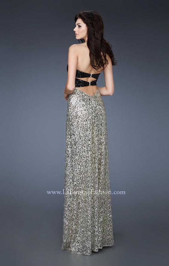 Picture of: Empire Waist Gown with Black Sequin Bodice in Gold, Style: 18491, Back Picture
