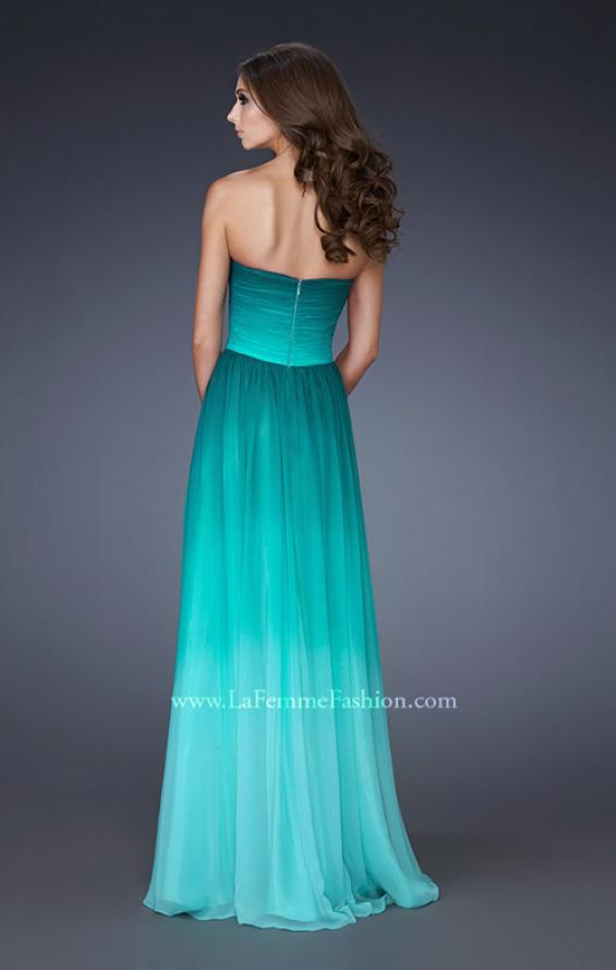 Picture of: Strapless Long Chiffon Dress with Ombre Print in Green, Style: 18497, Back Picture