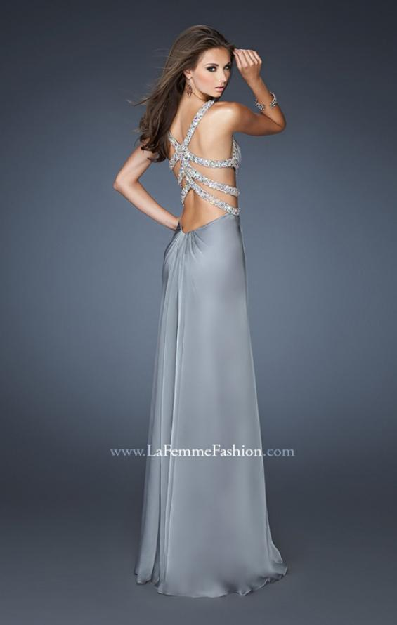 Picture of: Sexy Chiffon Dress with Deep V Neckline and Stones in Silver, Style: 18502, Main Picture