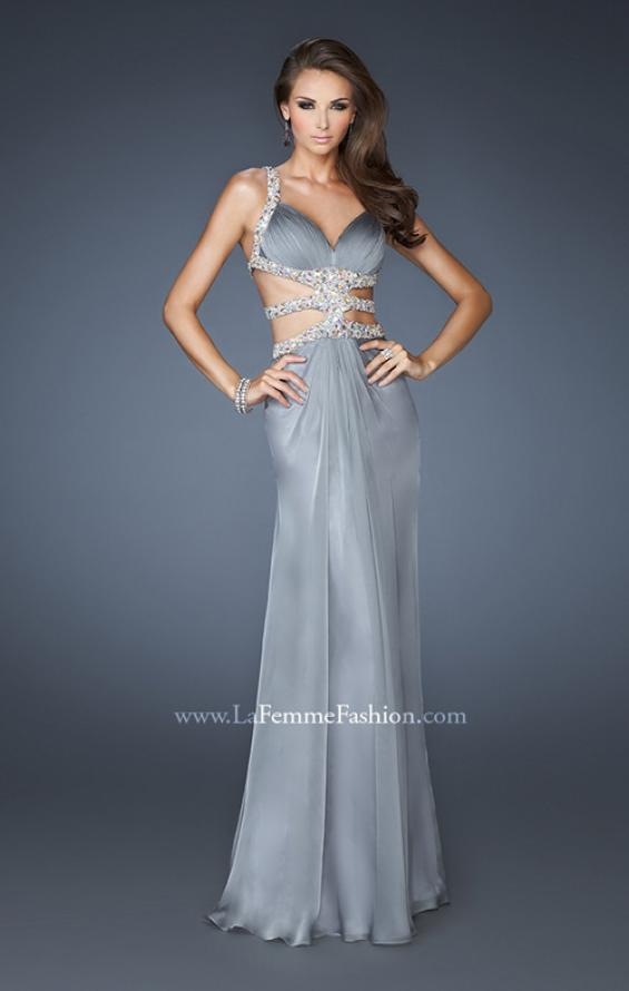 Picture of: Sexy Chiffon Dress with Deep V Neckline and Stones in Silver, Style: 18502, Back Picture