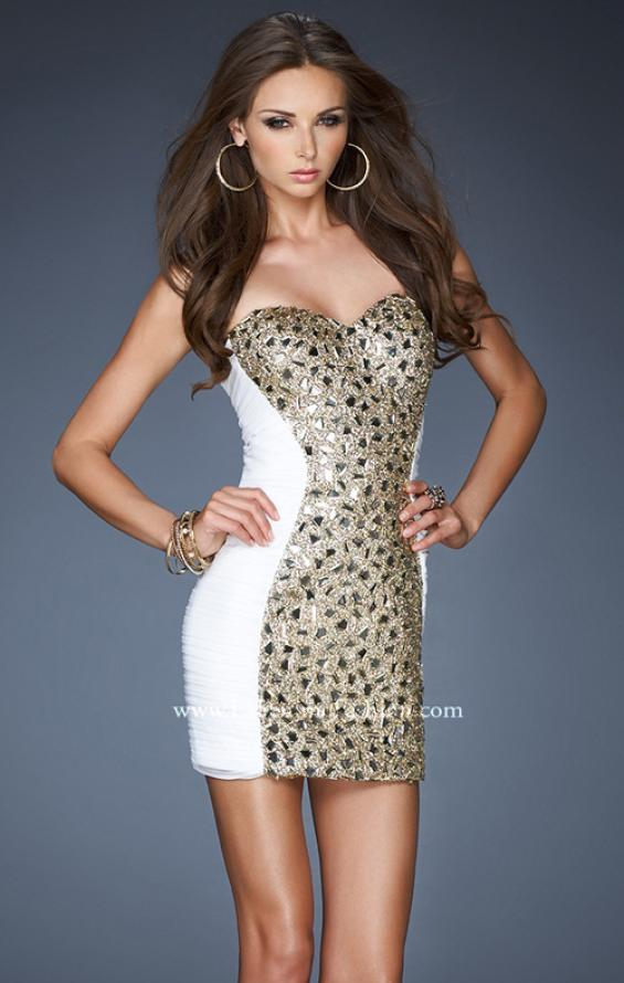 Picture of: Net Cocktail Dress with Sequined Panel and Stones in White, Style: 18503, Main Picture