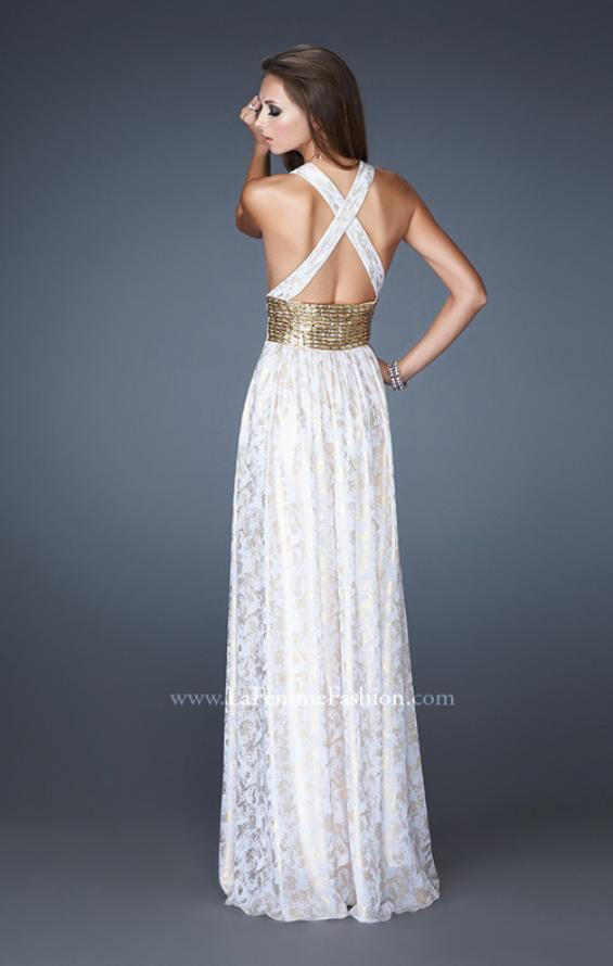 Picture of: Chiffon Prom Gown with Beaded Empire Waist, Style: 18504, Back Picture
