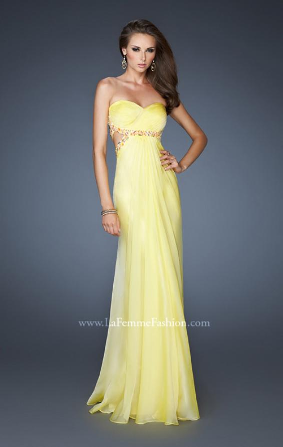 Picture of: Chiffon Gown with Gathered Bodice and Rhinestone Accents, Style: 18509, Main Picture