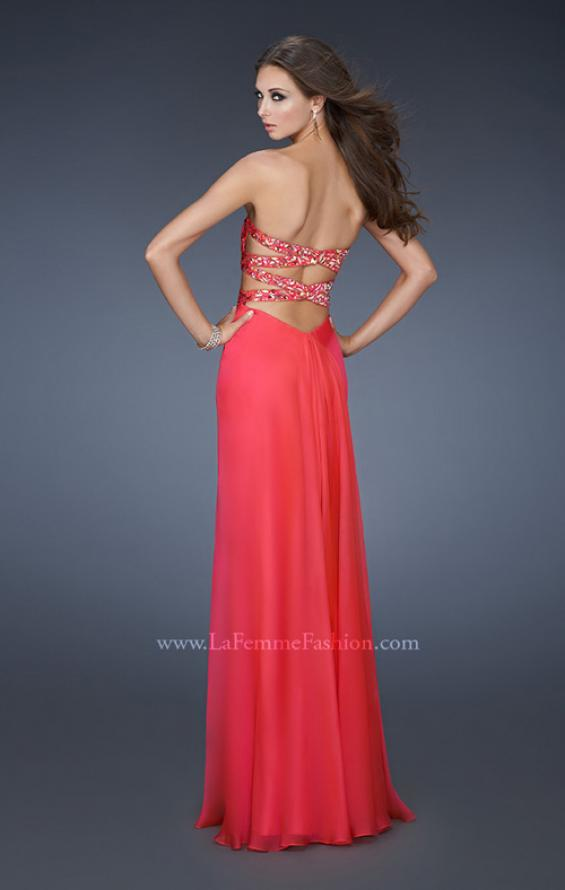 Picture of: Chiffon Gown with Gathered Bodice and Rhinestone Accents, Style: 18509, Back Picture