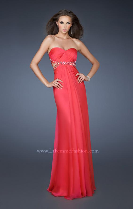 Picture of: Chiffon Gown with Gathered Bodice and Rhinestone Accents, Style: 18509, Detail Picture 1