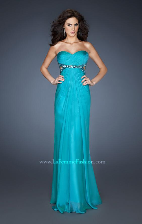 Picture of: Chiffon Gown with Gathered Bodice and Rhinestone Accents, Style: 18509, Detail Picture 2