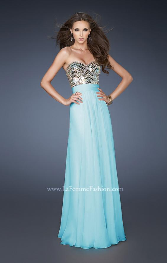 Picture of: A-line Prom Dress with Beaded Bodice and Empire Waist in Blue, Style: 18518, Main Picture