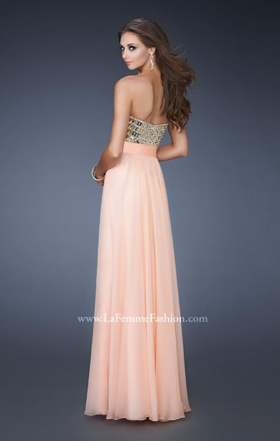 Picture of: A-line Prom Dress with Beaded Bodice and Empire Waist in Orange, Style: 18518, Back Picture