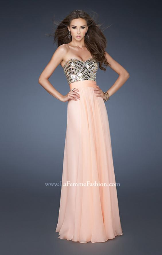 Picture of: A-line Prom Dress with Beaded Bodice and Empire Waist in Orange, Style: 18518, Detail Picture 1