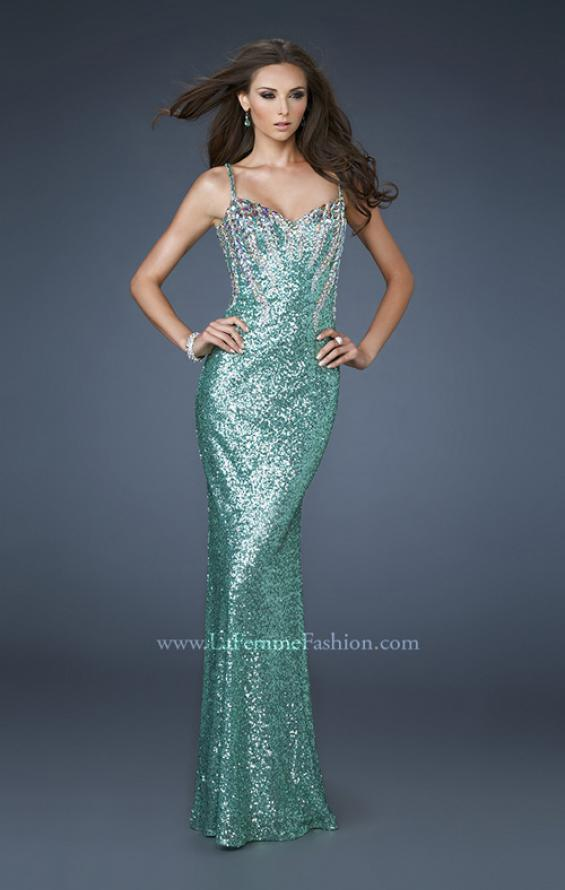 Picture of: Fitted Sequined Gown with Cascading Rhinestone Pattern in Green, Style: 18522, Main Picture