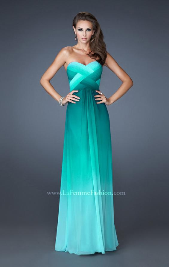 Picture of: Multi Tonal Ombre Dress with Criss Cross Beaded Back in Green, Style: 18525, Main Picture
