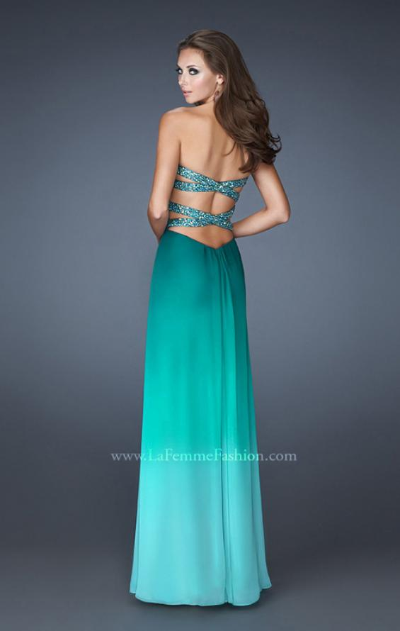 Picture of: Multi Tonal Ombre Dress with Criss Cross Beaded Back in Green, Style: 18525, Back Picture
