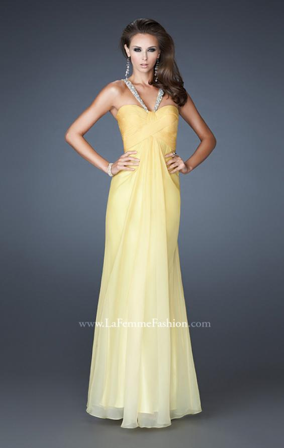 Picture of: Beaded V Strap Prom Dress with Subtle Ombre and Cut Outs in Yellow, Style: 18529, Main Picture