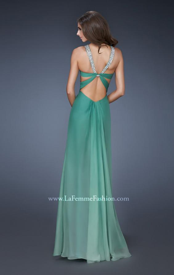 Picture of: Beaded V Strap Prom Dress with Subtle Ombre and Cut Outs, Style: 18529, Back Picture