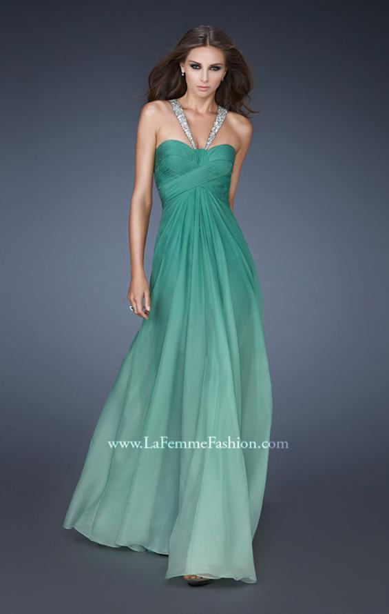 Picture of: Beaded V Strap Prom Dress with Subtle Ombre and Cut Outs in Green, Style: 18529, Detail Picture 1