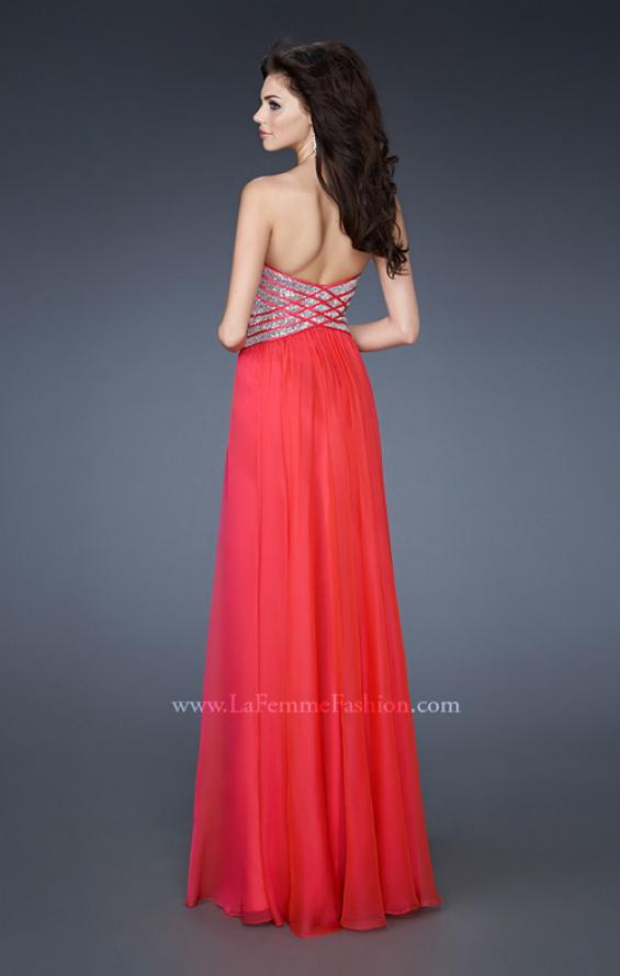 Picture of: Long Sweetheart Chiffon Gown with Sequin Detail in Pink, Style: 18530, Back Picture