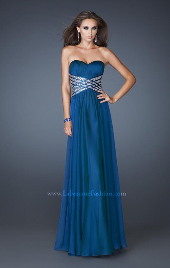 Picture of: Long Sweetheart Chiffon Gown with Sequin Detail in Blue, Style: 18530, Detail Picture 1