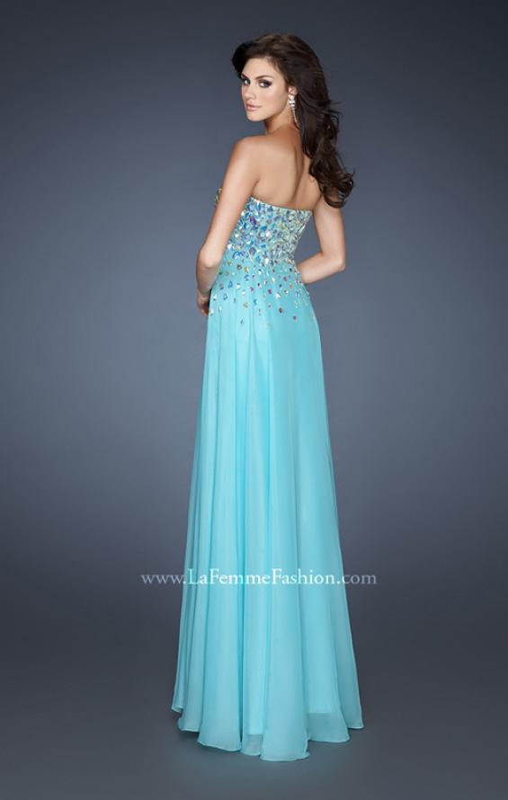 Picture of: A-line Chiffon Gown with Cascading Rhinestone Detail, Style: 18532, Back Picture