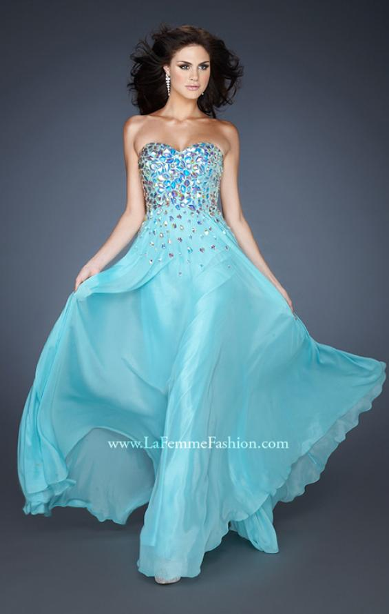 Picture of: A-line Chiffon Gown with Cascading Rhinestone Detail, Style: 18532, Detail Picture 1