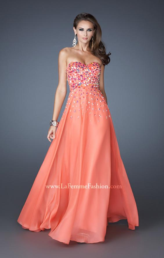 Picture of: A-line Chiffon Gown with Cascading Rhinestone Detail, Style: 18532, Detail Picture 2