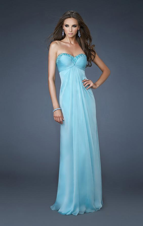 Picture of: Ruched A line Prom Dress with Beaded Shoulder Detail in Blue, Style: 18538, Main Picture