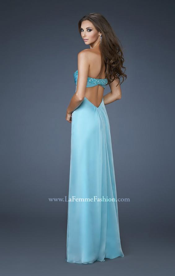 Picture of: Ruched A line Prom Dress with Beaded Shoulder Detail in Blue, Style: 18538, Back Picture