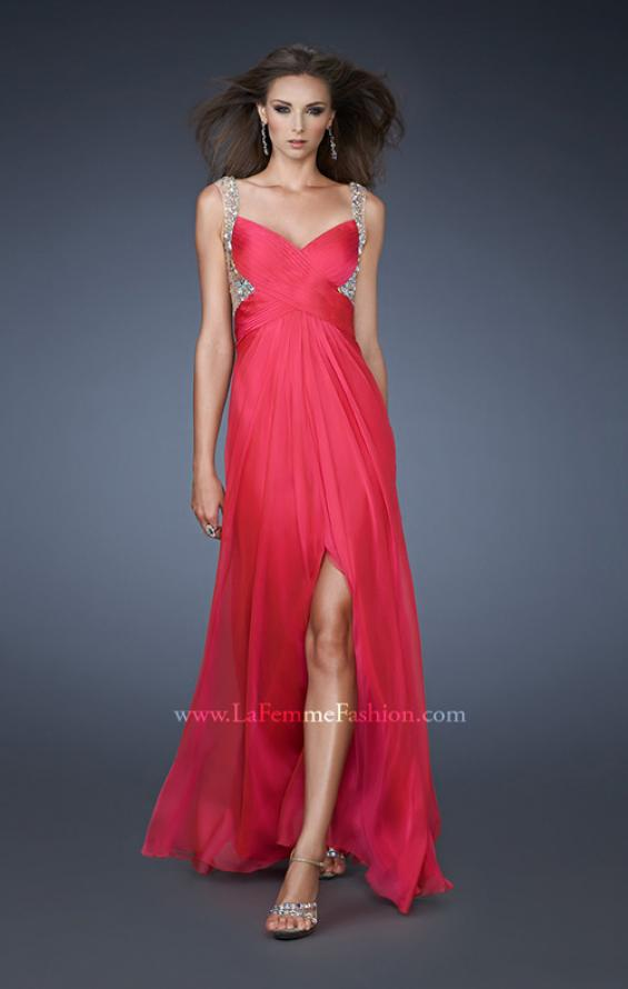 Picture of: Illusion Strap Prom Dress with V Back and Rhinestones, Style: 18541, Main Picture