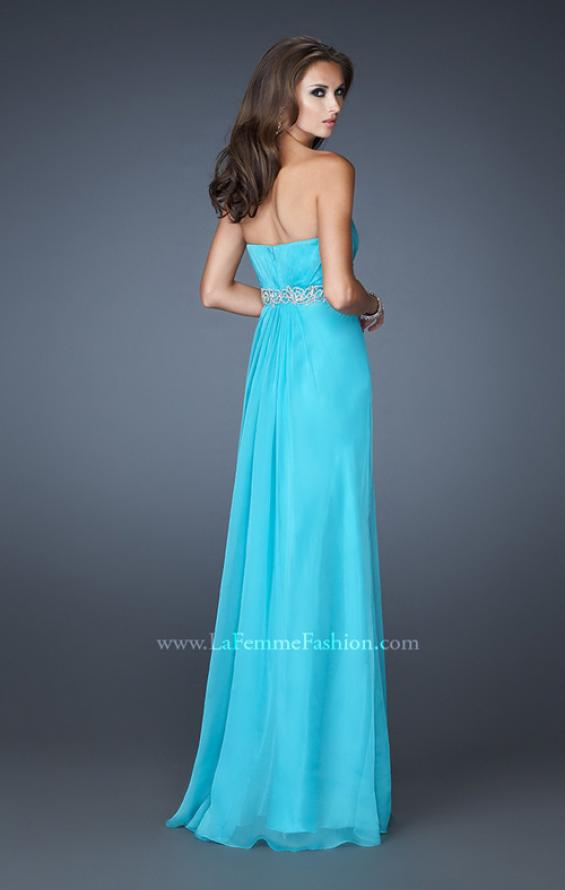 Picture of: Strapless Chiffon Long Gown with Beaded Waistline in Blue, Style: 18544, Back Picture
