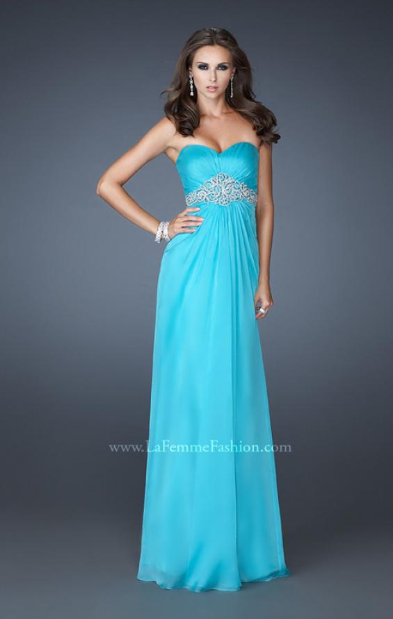 Picture of: Strapless Chiffon Long Gown with Beaded Waistline in Blue, Style: 18544, Detail Picture 1