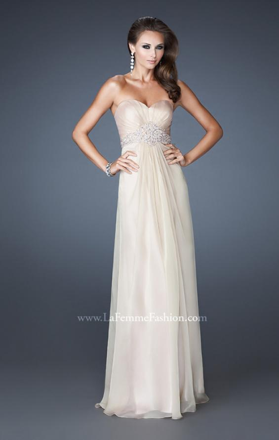 Picture of: Strapless Chiffon Long Gown with Beaded Waistline in Nude, Style: 18544, Detail Picture 2
